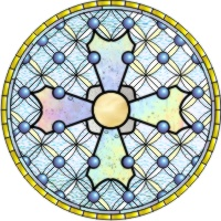stained glass pattern inspired by Becket window at Canterbury